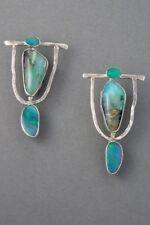 Ladies 925Silver Earrings Women Turquoise Gemstone Dangle Drop Hook Jewelry Boho