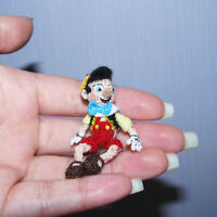 """Dollhouse Miniature Doll Pinocchio - 2"""" Artist Crochet Doll Collectible Toy"""
