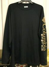 Mens Large Columbia Pfg Black w/ Gold L/S Poly Shirt - Performance Fishing Gear