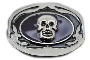 Men Women Silver Metal Belt Buckle Oval Shape Skull Skeleton Black White Scary