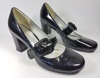 Clarks black patent leather mid heel shoes uk 5 eu 38