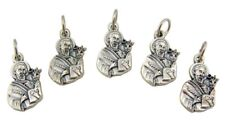 "Lot of 5 Saint St Luke the Evangelist 3/4"" Oxidized Silver Medal Petite Charm"