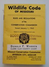 Vintage 1963 Wildlife Code of Missouri Rules and Regulations Conservation