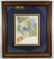 Barbara A Wood Limited Ed Lithograph Woman Serving Tea Signed Numbered 955/975
