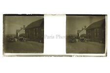 Voiture ancienne Village France Photo Amateur Plaque de verre stereo ca 1920