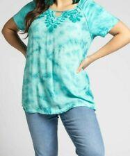 Ulla Popken t-shirt top plus size 16/18 20/22 24/26 28/30 32/34+ green tie dye