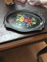 Vintage Russian Hand Painted Floral Flowers Toleware Black Serving Tray 8 X 6.5""
