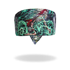 Neon Green Indian Skeleton Road Wrap Biker Bandanna Head Wrap Sweatband Headband