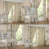 FIRENZE Floral Printed Lined Ready Made Tape Top Pencil Pleat Curtains Pair