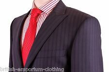 VERSACE COLLECTION Dark Blue Tonal Stripe Peak Lapel Suit Uk38 BNWT
