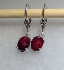 Sterling Silver Oval Cabochon Natural Ruby Dangle Lever Back Earrings 3.65TCW