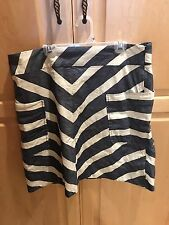 EUC Anthropologie Postmark 9-H15 STCL Blue And Creme Chevron Skirt, 12