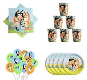 BLUEY DOG PLATES CUPS NAPKINS BALLOONS PARTY PACK FOR 20 HAPPY BIRTHDAY LOLLY