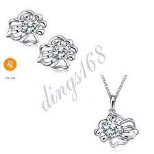 925 Sterling Silver Zodiac Sign Leo White Crystal Pendant + Earrings Set S138