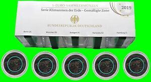 BRD: 5 x 5 Euro Gemäßigte Zone ADFGJ 2019 PP mit Polymerring Grün Komplettsatz