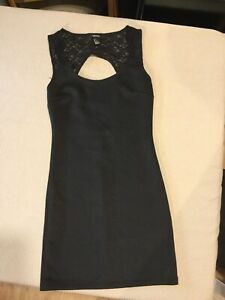 Forever 21 Black Dress Lace Small Stretchy Naughty Witch ? Halloween Costume
