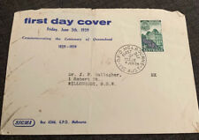 1959 Centenary Of Queensland Australian Sigma Fdc Addressed Opened