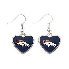 Denver BRONCOS NFL Color Heart Silver Dangle Earrings