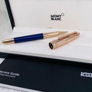 Replica MB P163 Little Prince and Fox Blue+Gold Color Rollerball Pen No Box