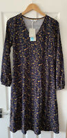BODEN NAVY BLUE PRINTED MIDI DRESS UK 8 REGULAR NEW