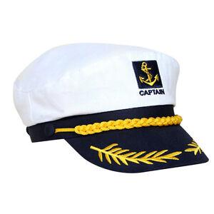 Adjustable Navy Marine Yacht Boat Ship Sailor Captain Fancy Costume Hat Cap UK