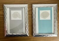 """2 Seashell Prints 5"""" x 7"""" Silver Pattern Plastic Frame With Glass Gray & Teal"""