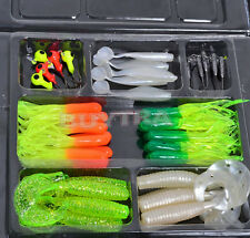 Soft Fishing Lures Bait Tackle Small Jig Head Box Set Simulation Suite Chic hcuk