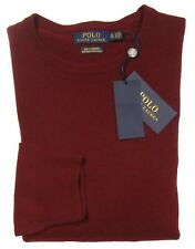 Polo Ralph Lauren Men's Red Burgundy Washable 100% Cashmere Crew-Neck Sweater