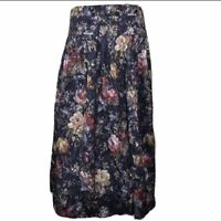 Vintage Nilani Floral Skirt A-Line Pleated High Waisted Cottagecore Blue Maxi