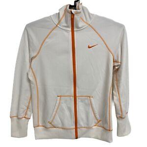 Nike Women's Therma-Fit Jacket White/Orange Zip Hooded Athletic Large