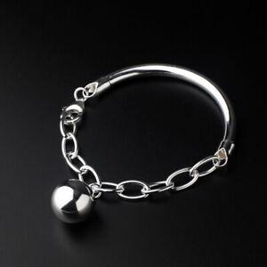 D08 Armband Ankerkette Bügel und Silberkugel 925 Sterlingsilber