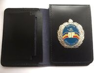 • Leather Police Style Warrant Card Holder With Obsolete Romanian Crest Badge •