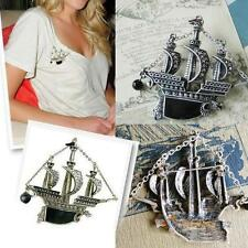 Hot Vintage Sailing Boat Ship Pirate Vessel Dragon With Black Pearl Brooch Pin