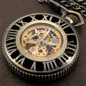 Steampunk Wheel Gear Design Mechanical Pocket Watches Fob Pendant Watch Skeleton