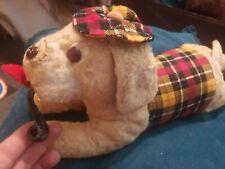 Vintage 12 Plush Dog Smoking Pipe wearing plaid hat and sweater