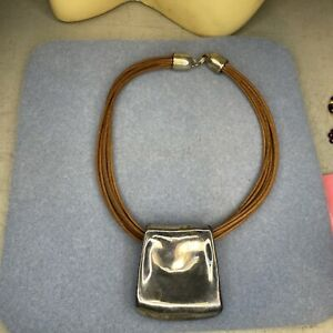 """Large Bat-Ami sterling silver 925 + leather necklace 16"""""""