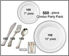 500-pc Party Pack-Premium Plastic WHITE w/Silver China Plates and Silver Cutlery