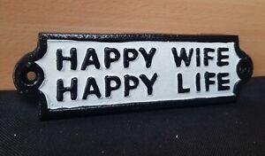 "**VINTAGE STYLE "" HAPPY WIFE HAPPY LIFE "" CAST IRON SIGN RETRO HUMOUR"