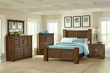 NEW American Cottage Brown Bedroom Furniture - 5pcs Queen Poster Bed Set IA76