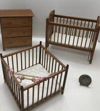 Miniature Dollhouse 3 Piece Baby Furniture Crib, Dresser & Playpen Signed By P