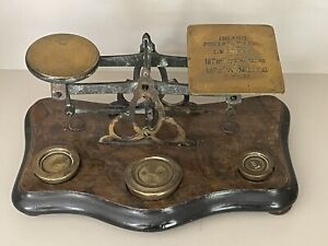Fabulous Vintage Post Office Scales With Brass Weights