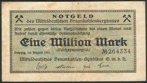 Mitteldeutschen Braunkohlensyndikat G.m.b.h. 1 Million Mark Aug 1923 RAR