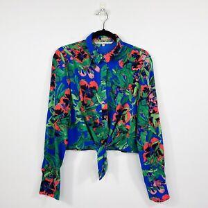Rachel Roy Womens Cropped Shirt Top Long Sleeve Floral Blue Size 12 - 14 AU