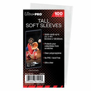 Ultra Pro Tall Soft Sleeves Pack Of 100 Card Sleeves Tall Boys!