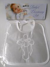 Baby Boys Girls Plain Satin Effect Embroidered Christening Baptism Bib White