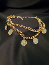 """Plated Chain Anklet/Bracelet 11"""" (M2629) Double Chain Roman Coin Yellow Gold"""