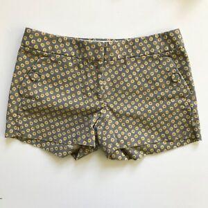 "J Crew Woven Gray & Yellow Polka Dot Shorts SZ 0 / XS 3"" Inseam Button Pockets"