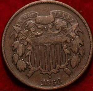 1868 Copper Philadelphia Mint Two Cent Coin