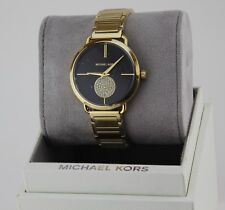 NEW AUTHENTIC MICHAEL KORS PORTIA CRYSTALS GOLD BLACK WOMEN'S MK3788 WATCH