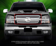 Fits 2003-2005 Chevrolet Silverado Stainless Steel Mesh Grille Upper Grill Fedar